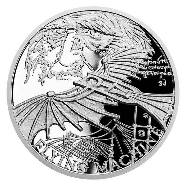 Stříbrná mince Vynálezy Leonarda da Vinci - Kluzák proof
