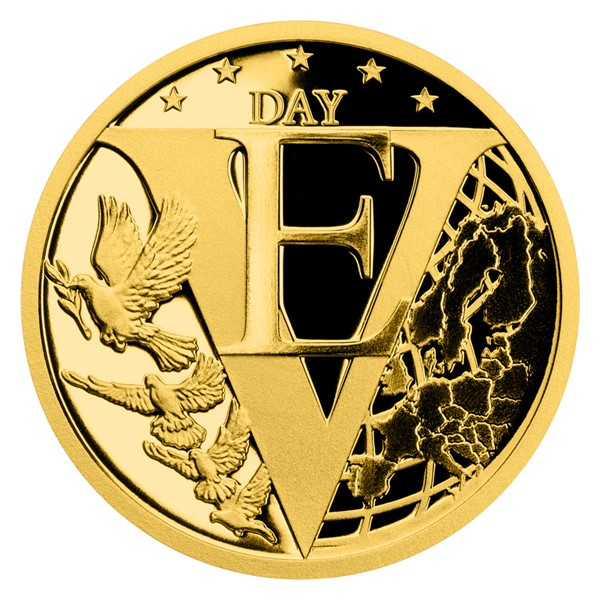 Zlatá mince Konec 2. světové války v Evropě proof