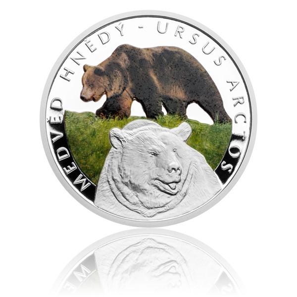 Stříbrná mince Ohrožená příroda - Medvěd hnědý proof