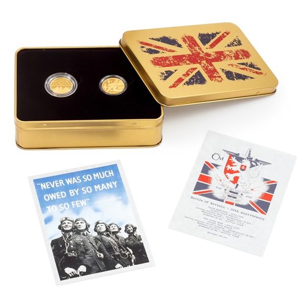 Sada dvou zlatých mincí - Bitva o Británii proof