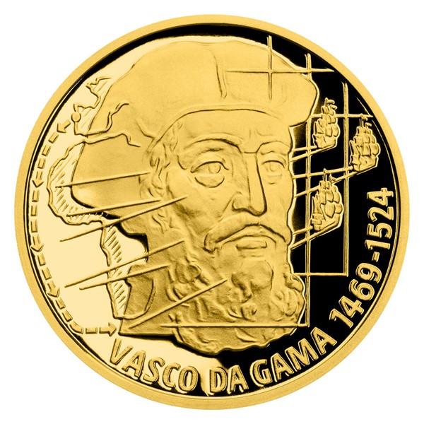 Zlatá čtvrtuncová mince Na vlnách - Vasco da Gama proof