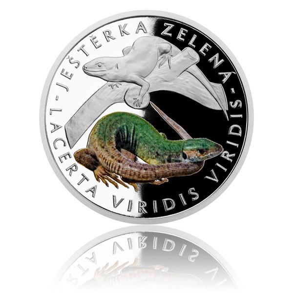 Stříbrná mince Ohrožená příroda - Ještěrka zelená proof