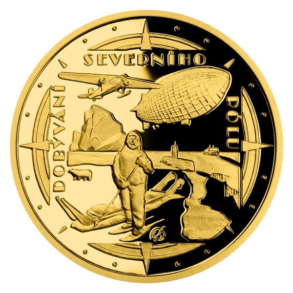 Zlatá čtvrtuncová mince Polárníci - Dobytí severního pólu proof
