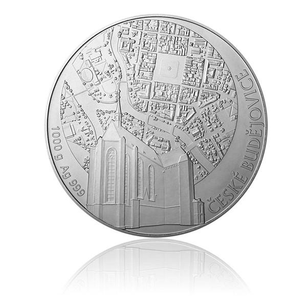 Stříbrná kilová investiční medaile Statutární město České Budějovice stand