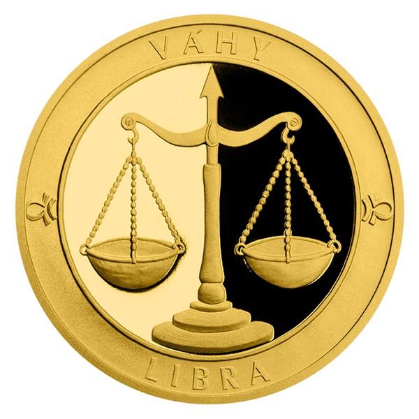 Zlatý dukát Znamení zvěrokruhu s věnováním - Váhy proof