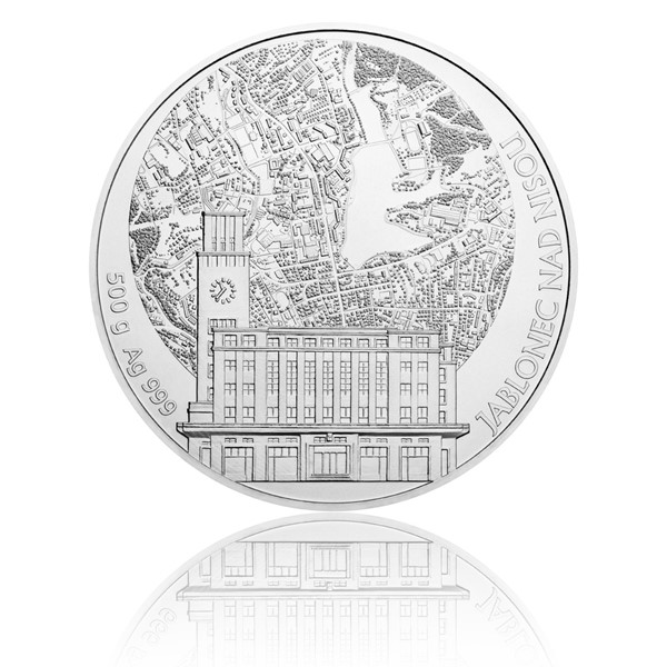 Stříbrná půlkilová investiční medaile Statutární město Jablonec nad Nisou stand