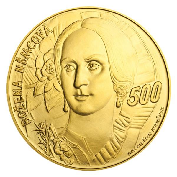 Zlatá kilová investiční medaile s motivem 500 Kč bankovky Božena Němcová stand