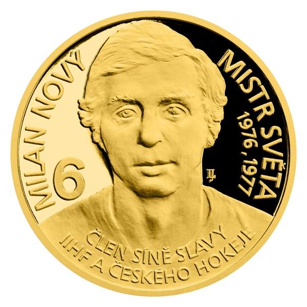 Zlatá čtvrtuncová mince Legendy čs. hokeje - Milan Nový proof
