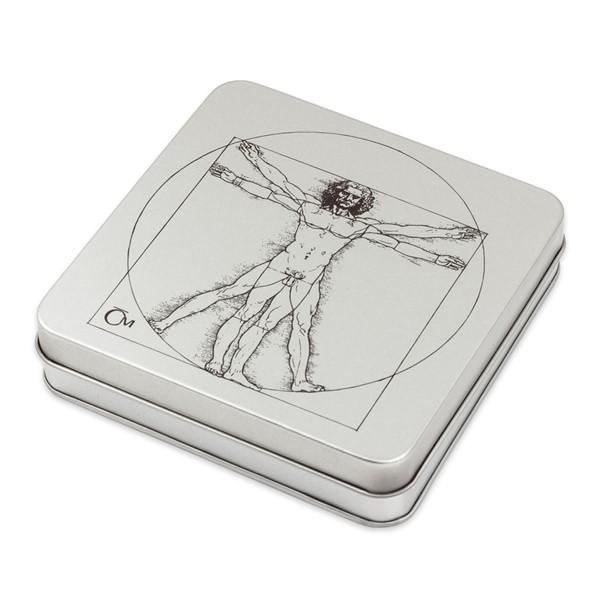 Sběratelská plechová etue na čtyři stříbrné mince Vynálezy Leonarda da Vinci