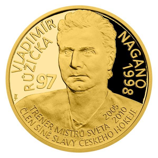 Zlatá čtvrtuncová mince Legendy čs. hokeje - Vladimír Růžička proof