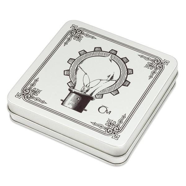 """Sběratelská plechová etue na čtyři stříbrné mince """"Géniové"""""""