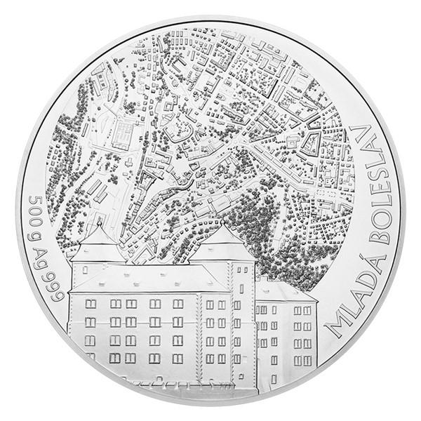 Stříbrná půlkilogramová sběratelská medaile Statutární město Mladá Boleslav stand