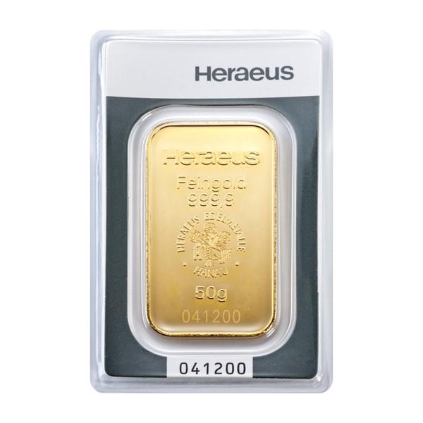 Investiční zlatá cihla 50 g - Heraeus