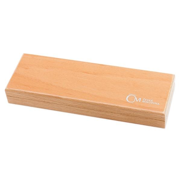 Dřevěná etue světlá na 3 ks 1 Oz Ag