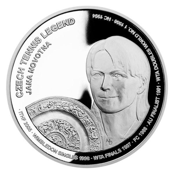 Stříbrná mince České tenisové legendy - Jana Novotná proof