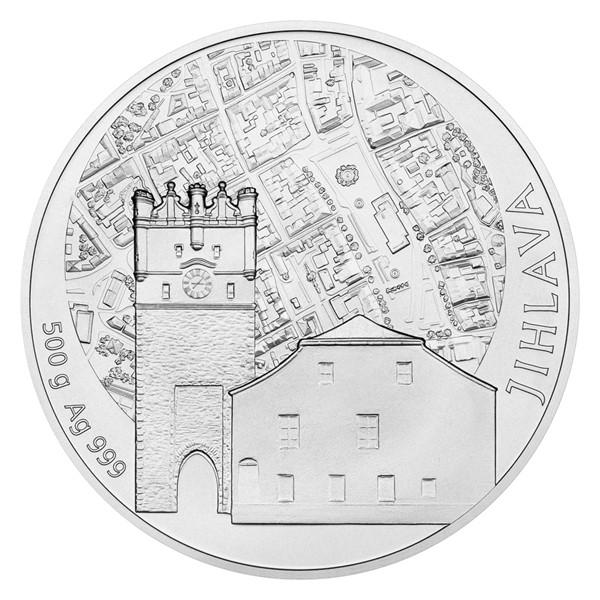 Stříbrná půlkilová medaile Statutární město Jihlava stand