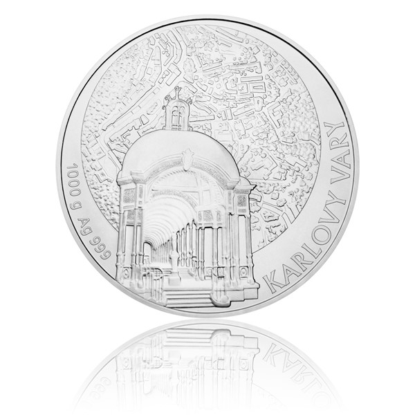 Stříbrná kilová investiční medaile Statutární město Karlovy Vary stand