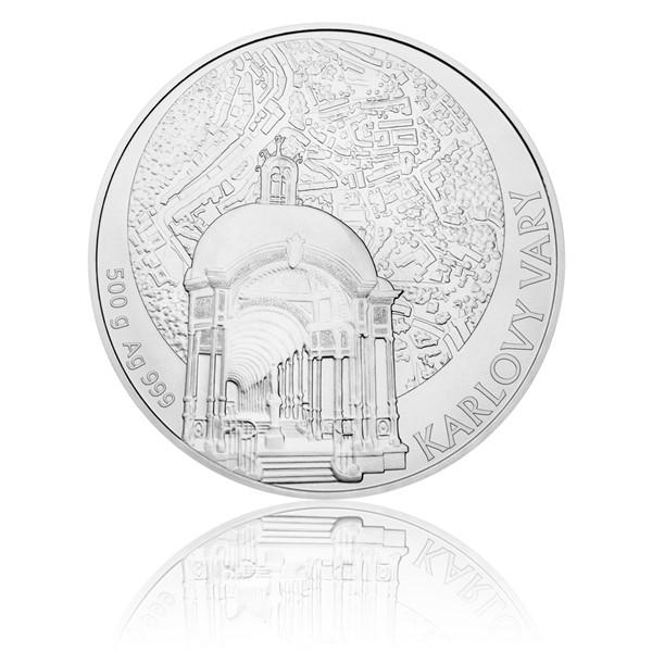 Stříbrná půlkilová investiční medaile Statutární město Karlovy Vary stand