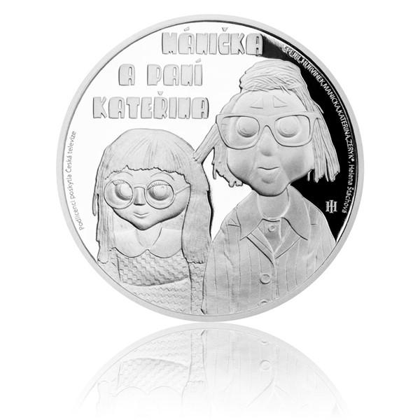 Stříbrná mince Mánička a paní Kateřina proof