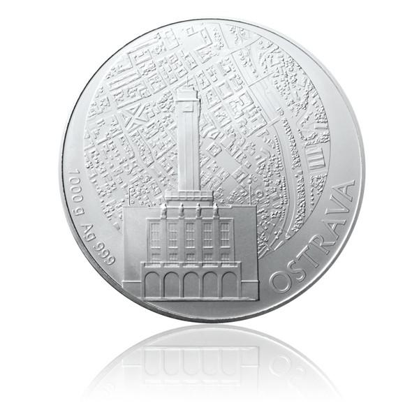 Stříbrná kilová investiční medaile Statutární město Ostrava stand