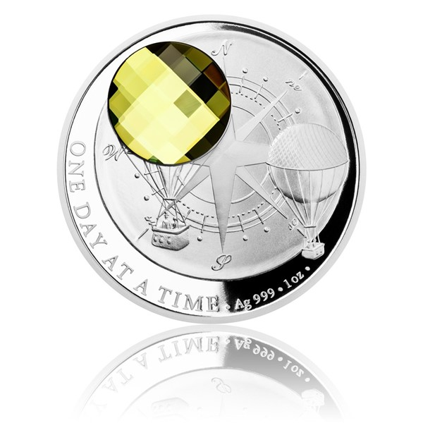 Stříbrná mince CRYSTAL COIN - One Day at a Time - Sahara proof
