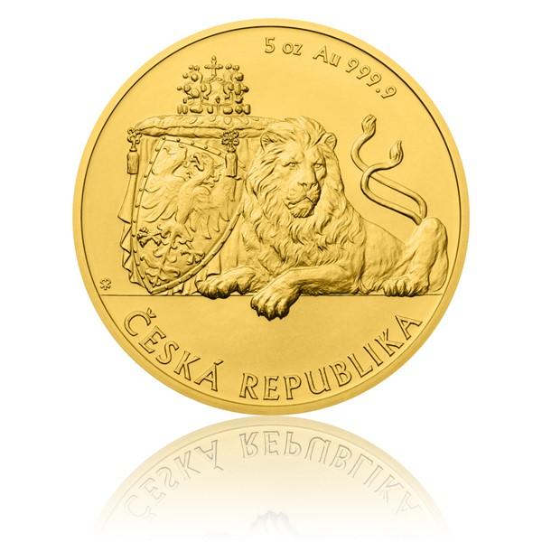 Zlatá pětiuncová investiční mince Český lev 2017 stand