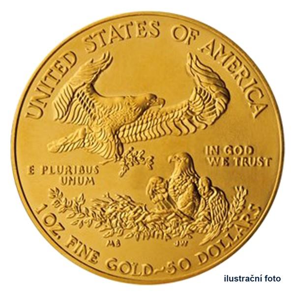 Zlatá investiční 1 Oz mince 50 USD American Eagle stand