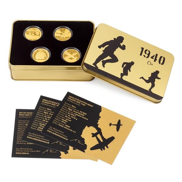 Sada čtyř zlatých mincí Válečný rok 1940 proof