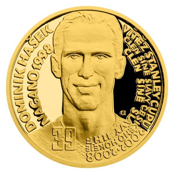 Zlatá čtvrtuncová mince Legendy čs. hokeje - Dominik Hašek proof