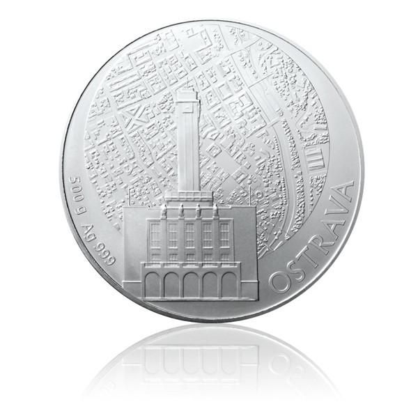 Stříbrná půlkilová investiční medaile Statutární město Ostrava stand