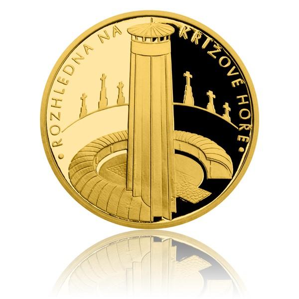 Zlatá čtvrtuncová medaile Rozhledna na Křížové hoře proof
