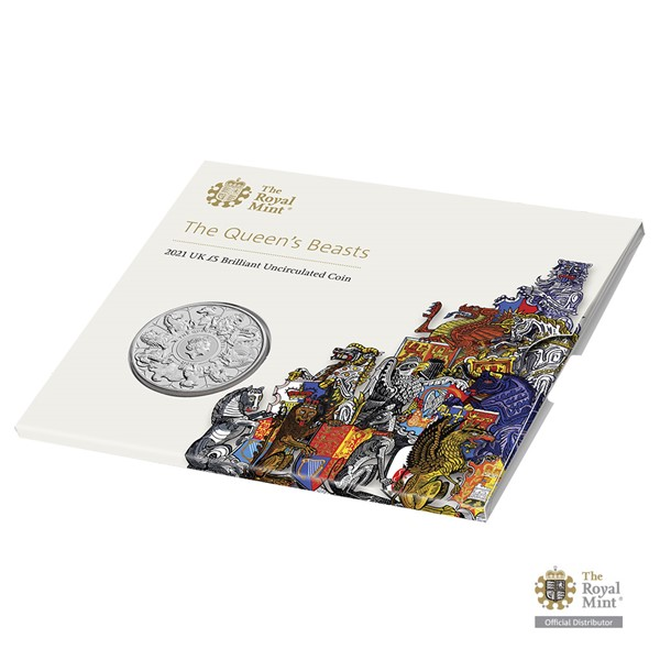 Pamětní mince Královnina heraldická zvířata UK 2021 brilliant