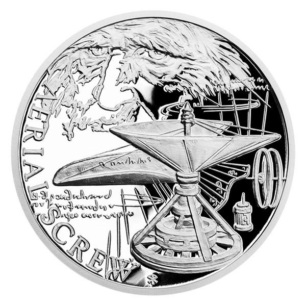 Stříbrná mince Vynálezy Leonarda da Vinci - Helikoptéra proof