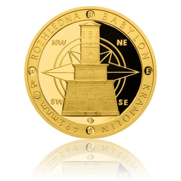 Zlatá čtvrtuncová medaile Rozhledna Babylon proof