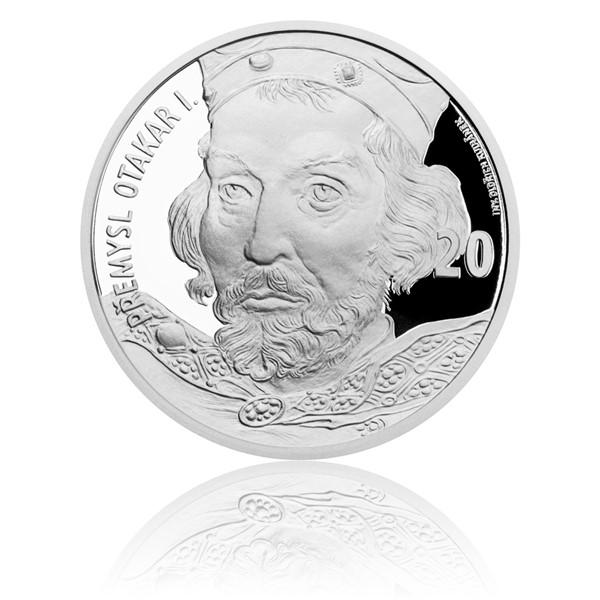 Stříbrná medaile s motivem 20 Kč bankovky - Přemysl Otakar I. proof