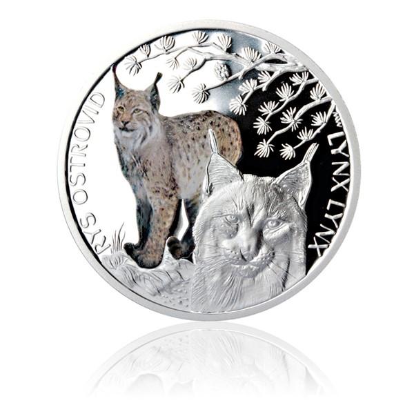 Stříbrná mince Ohrožená příroda - Rys ostrovid proof