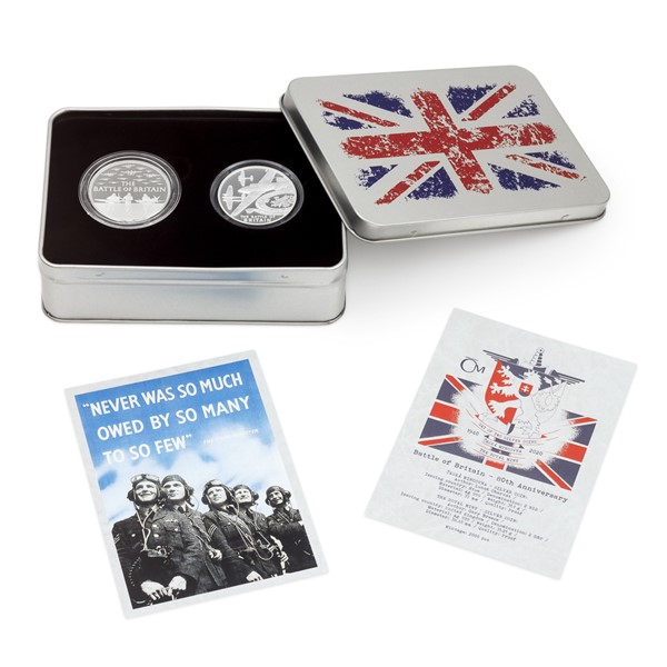Sada dvou stříbrných mincí - Bitva o Británii proof