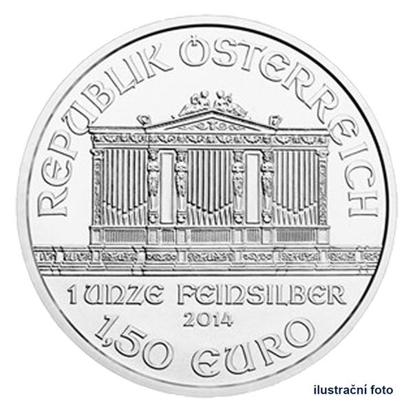 Stříbrná investiční mince 1,5 EUR Wiener Philharmoniker stand