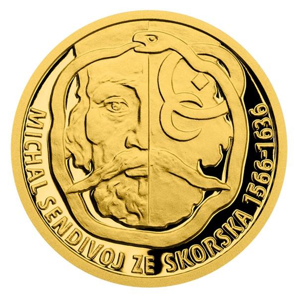 Zlatá mince Alchymisté - Michal Sendivoj ze Skorska proof