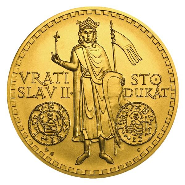 Zlatý 100dukát Vratislav II. stand