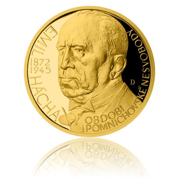 Zlatý dukát Českoslovenští prezidenti - Emil Hácha proof