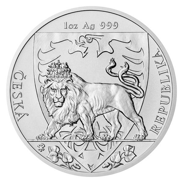 Stříbrná uncová investiční mince Český lev 2020 stand