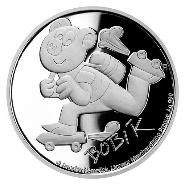 Stříbrná mince Čtyřlístek - Bobík proof