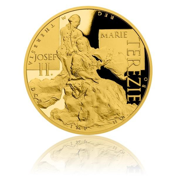 Zlatá dvouuncová mince Marie Terezie a Josef II. proof