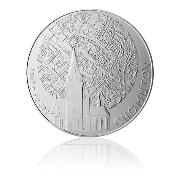 Stříbrná kilová investiční medaile Statutární město Chomutov stand
