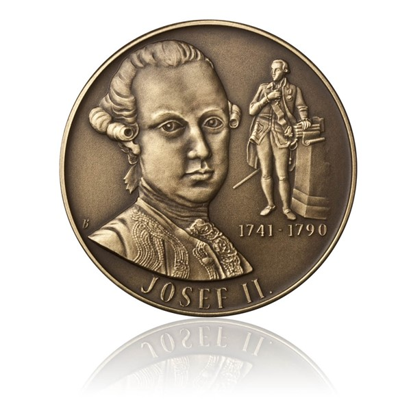 Mosazná medaile Josef II. stand