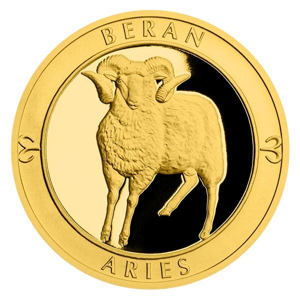 Zlatý dukát Znamení zvěrokruhu s věnováním - Beran proof