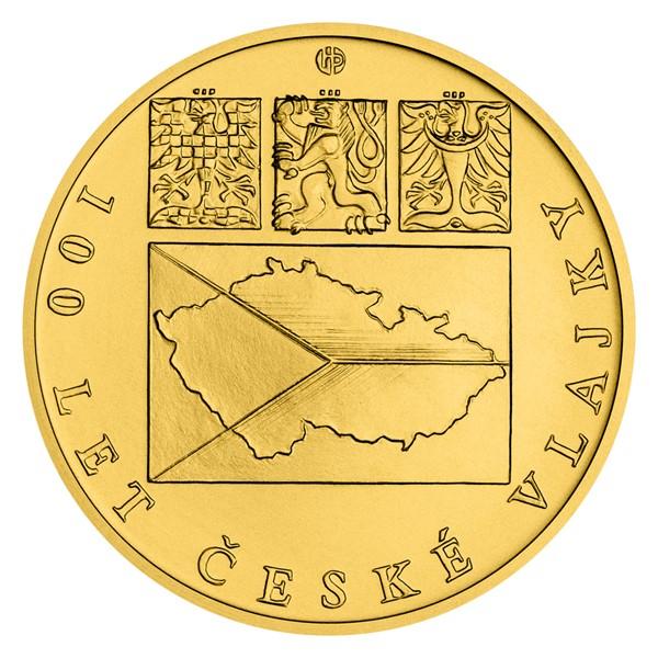 Zlatá pětiuncová mince Česká vlajka stand