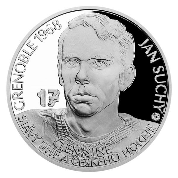 Stříbrná mince Legendy čs. hokeje - Jan Suchý proof