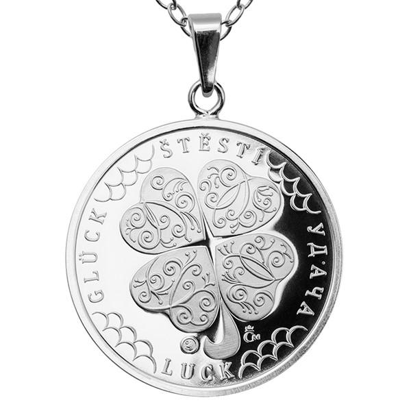 Česká mincovna 31062-711 Stříbrný přívěsek Čtyřlístek pro štěstí proof